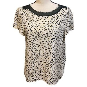 REISS Yellow White Leopard Print Abstract Blouse